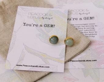 You're a Gem - Aventurine Silver, gold stud Gemstone Earrings