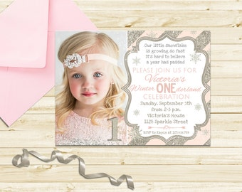 items similar to winter wonderland birthday invitations on etsy, Birthday invitations