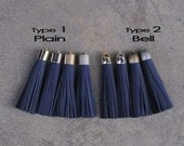 Midnight Blue Nubuck (cowhide)  TASSEL in 16mm Cap -4 colors Plated Cap- Pick cap color & type