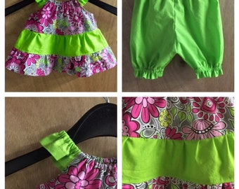 Infant Tiered Dress with Bloomers, size Newborn 0-3 Months
