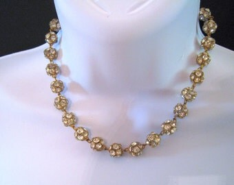 """Rhinestone """"Disco Ball"""" Vintage Choker Set In Gold/Brass Metal - Glittery and Lovely- 15.5"""" long"""