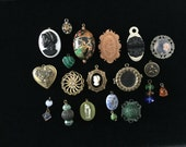 Vintage destash jewelry parts, charms, and pendants, blue, green, amber for repurpose or deconstruction
