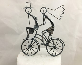 Bride and Groom on Bike Cake Topper, Groom on Handlebars