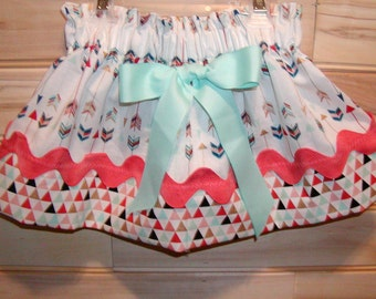 Girls skirt, Infant skirt, toddler skirt, Custom..Gold Coral Mint N Navy Arrows..sizes newborn  to 10 girls