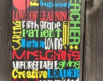 Teacher appreciation gift; customized end of year teacher gift; unique personalized custom teacher wall art; best teacher art, personalized