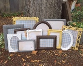 Gray, Mustard Yellow, White, Brown SHABBY CHIC Frame Set, Set of 12 Upcycled Frames