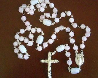 5-decade Catholic Rosary, Handmade, Pink Rose Quartz & White Agate Gemstone