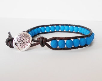 blue beaded leather bracelet, friendship wrap bracelet, surfer cuff, boho bracelet, stacking bracelet, pantone colour cuff, gift for her