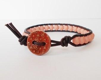 peach bead leather wrap bracelet, friendship bracelet, southwestern cuff, boho stacking bracelet, pantone colour cuff, gift for her