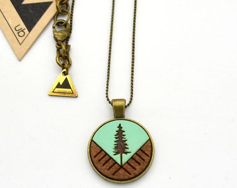 Colour Block Tree - Small Wood Necklace