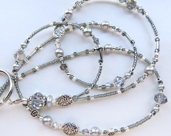 STUNNING SILVER SUMMER- Beaded Id Lanyard- Silver Crystals, Pearls, & Tibetan Silver Beads (Magnetic Clasp or Comfort Created)