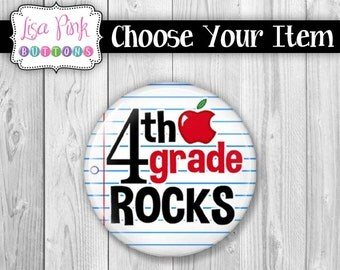 Choose Your Item - Teacher Button Pin, Button Pin, Teacher Magnet, Magnet, Teacher Pocket Mirror, Pocket Mirror, 4th Grade Rocks