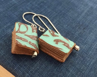 25%OFF Genuine LEATHER miniature BOOK earrings (Turquoise blue) with gift envelope  gift for librarian teacher book lovers