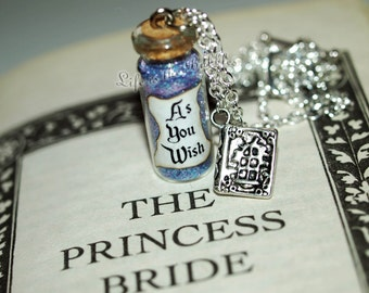 As You Wish Necklace with a Kissing Book Charm, The Princess Bride, Buttercup and Westley,  by Life is the Bubbles
