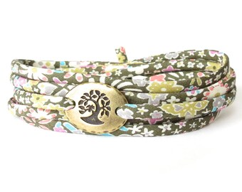 Gift for teacher, pretty Liberty fabric wrap in olive green and pink florals, meaningful tree bracelet for women, UK jewellery