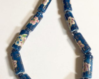 Vintage Cloisonné Blue Enameled Beaded Necklace