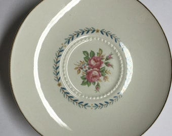 Vintage Saucer, Mt Vernon, Harmony House China ,Hall China, Fine Dinnerware, US design, cream color , Pink Roses saucer, Blue Yellow Garland