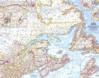 """Eastern Canada Map 1967 25"""" x 19"""""""