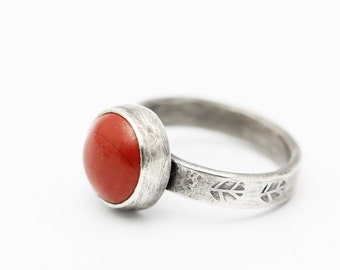 Red Jasper Ring, Sterling Ring, Round Jasper Ring, Rustic, Oxidized Sterling, Size 5.75
