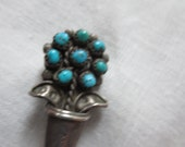 Mid Century NAVAJO STERLING TURQUOISE Flower Pot Pin