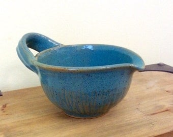 Pottery Mixing Bowl, Handmade Batter Bowl, Turquoise Gravy Boat, Serving Bowl