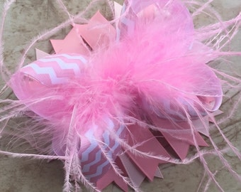 Pink Feather Bow, Boutique Bow, Big Bow, Stacked Bow, Feather Bow, Pink Bow, Over the Top, OTT Bow, Baby Bow, Toddler Bow, Ostrich Puff