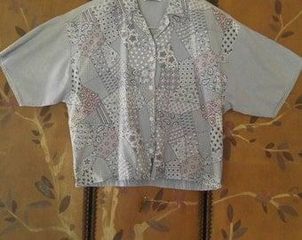 80s crop denim patchwork print blouse