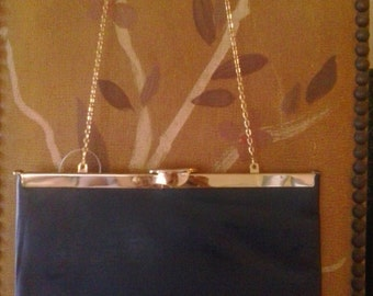 80s Etra navy leather clutch / purse