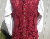 Men's Colonial Pirate Waistcoat Vest Costume Maroon Red Brocade Size Medium READY TO SHIP!