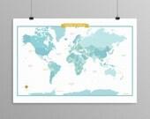 World Map - Aqua - modern design print 13x19