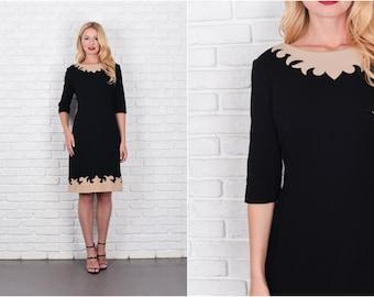 Vintage 60s 70s Black + Beige Mod Dress Sweater Knit Wool Scalloped Color Block 7868 vintage dress 60s dress sweater dress wool dress