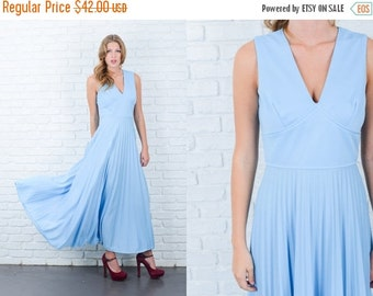 ON SALE Vintage 70s Blue Pleated Dress Accordion Maxi A Line Plunging Small S 6096 vintage dress 70s dress maxi dress small dress