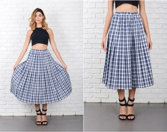 Navy Blue Plaid Striped Print A Line Pleated XS Small S 8042 Vintage 80s navy blue skirt plaid skirt aline skirt pleated skirt xs skirt
