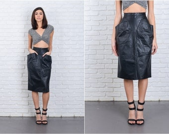 Vintage 80s Black Leather Skirt Retro Pleated Wiggle High Waist XS 6864 vintage skirt black skirt leather skirt retro skirt high waist