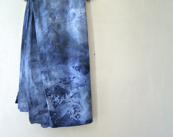 Indigo Shibori Cotton Art Fabric, High Density Hand Dyed Blue White Batik Square Tablecloth Raw Edges, Sewing Supply, Rustic Antique linen