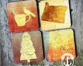 Coaster Set | Oregon   | Bend Nature Inspired Map Style | Set of 4 Cork Back | Options at Checkout