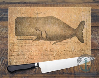 Glass Cutting Board - Sperm Whale Marine Decor | Small or Large Kitchen Art for Your Countertop.
