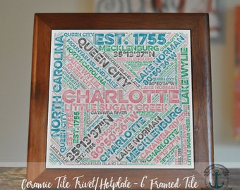 """Trivet Hot Plate:  Charlotte NC Typography  