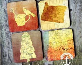 Coaster Set | Oregon   | Bend Nature Inspired Map Style | Cork Back Non Slip | Options at Checkout