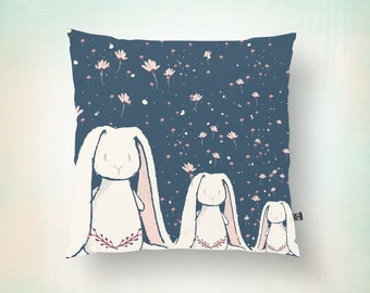 Bunny Rabit Throw Pillow Easter Spring Holiday or Nursery Room Modern Decor Product Sizes and Pricing via Dropdown Menu