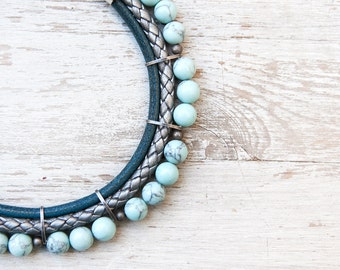 Meteorites  Grey Aqua Blue colors Statement  Howlite Necklace by Pardes