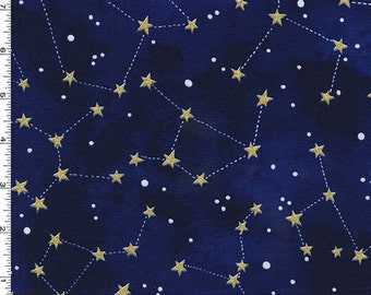 Metallic Gold Constellation on Midnight Blue from Michael Miller