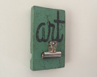 Colorful Clipboard Art Gallery Sign, Rustic Green,  Handpainted Distressed Wooden Sign