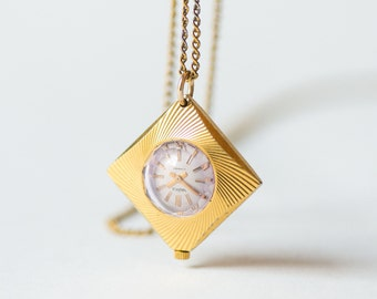 Gold plated watch necklace Seagull, rhombus shape lady's watch pendant, pink face small watch necklace, ornamented case watch pendant rare
