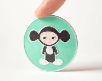 Cheburashka button badge mint shade, iconic Soviet cartoon character Cheburashka pin for kids, gift fun pin