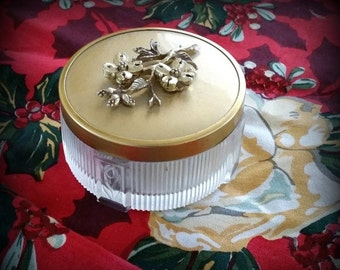 SUMMER SALE Vintage Vanity Jar - Art Deco Vanity - Beautiful Gold Tone Filigree Floral Lid