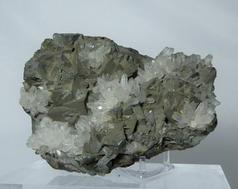 Collectible Quartz Pyrite and Galena Crystal Cluster Cabinet Display Specimen from Peru 630 grams 4.25 x 3.20 x 1.70 inch DanPickedMinerals