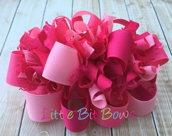 Solid Pinks Funky Loopy Bow