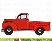Red Vintage Pickup Truck Full Side Stamp Digital Clip Art Retro