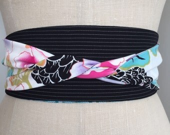 Reversible obi sash belt, Japanese inspired print obi belt sash, black white stripe obi, multicolor obi sash belt, waist cincher, aqua